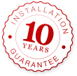 10 year guarantee for installation